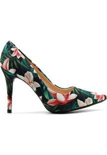 Scarpin Royalz Tecido Catherine Tulipa Feminino - Feminino-Preto