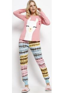 71cf00104 ... Pijama Lhama- Rosa   Azul Claroevanilda