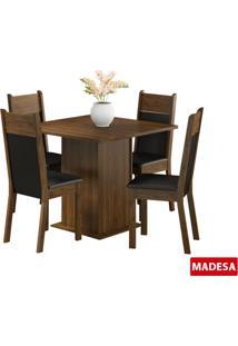 Conjunto De Mesa Madesa Holga C 4 Cadeiras Rustic Preto Se