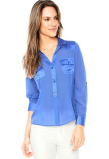 Camisa Manga Longa Aishty Slim Azul