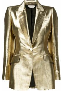 Alexander Mcqueen Blazer De Alfaiataria Com Efeito Metalizado - Dourado
