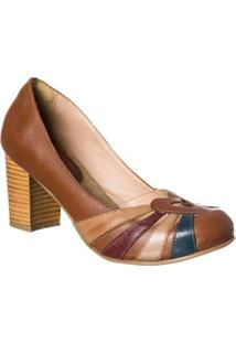 Sapato Boneca Retro Malbork Em Couro Salto 7Cm - Feminino-Marrom