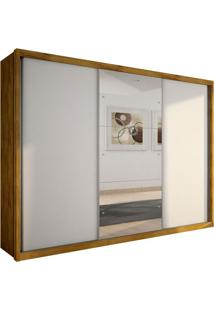 Guarda-Roupa Casal Com Espelho Malma Ii 3 Pt Freijó Dourado E Branco