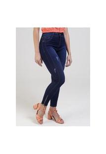 Calça Jeans Com Puídos Feminina Azul