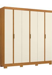 Guarda-Roupa Casal 6 Portas Itapoá-Móveis Albatroz - Cedro / Off White