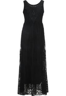 Vestido Desigual Longo Renda Alicia Preto - Preto - Feminino - Algodã£O - Dafiti