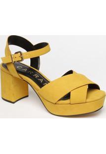 Sandã¡Lia Meia Pata Em Couro Com Tiras Cruzadas- Amarela