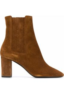 Saint Laurent Almond Toe Ankle Boots - Marrom