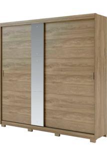 Roupeiro Smart C/ Espelho 2 Portas De Correr Noce C/ Off White Móveis Carraro