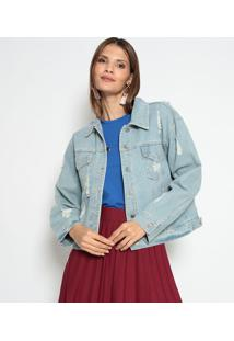 Jaqueta Jeans Com Puídos- Azul Claro- Le Fixle Fix