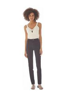Calça Maria.Valentina Super High M. Clara Cós Intermediário Recorte Com Preg Jeans