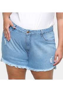 Shorts Jeans Cambos Plus Size Básico Puídos Feminino - Feminino