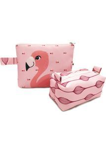 Kit Estojo E Necessaire Nita Faco Flamingo Flora Rosa