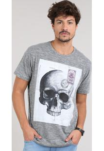 Camiseta Masculina Caveira Manga Curta Gola Careca Cinza Mescla Escuro