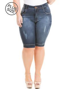 Bermuda Jeans Feminina Duo Dark Com Elastano Plus Size