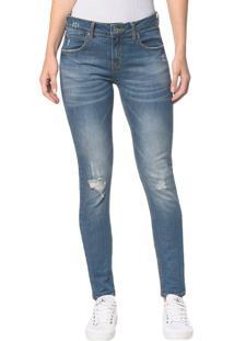 Calça Jeans Five Pocktes Mid Rise Slim Ckj 021 Mid Rise Slim - Azul Médio - 34