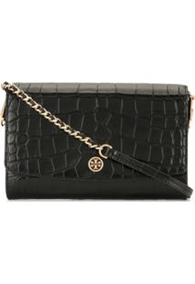 Tory Burch Robinson Embossed Wallet Clutch Bag - Preto