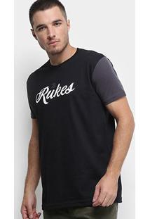 Camiseta Rukes Bicolor Masculina - Masculino-Preto