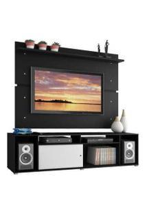Rack Madesa Cancun E Painel Para Tv Até 65 Polegadas Preto/Preto/Branco
