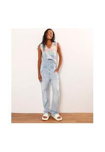 Macacão Reto Jeans Com Bolsos Azul Claro