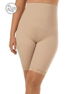 Cinta Modeladora Com Cós Duplo E Perna Plus- Size Mondress Bege