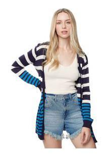 Cardigan Tricot Stripes Azul