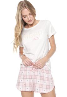 Short-Doll Cor Com Amor Estampado Off-White/Rosa