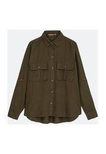 Camisa Liocel Com Bolsos Curve & Plus Size Verde