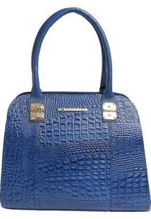 Bolsa De Mão Em Couro Com Detalhes Metalizados - Azul