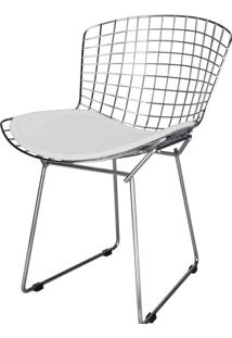 Cadeira Bertoia Assento Courrissimo Branco Inox 24150