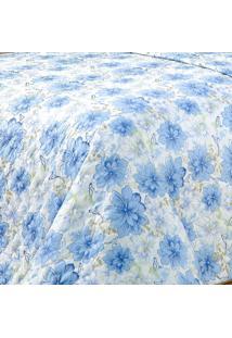 Jogo De Cama Marrocos Queen Azul Floral Com 3 Peças - Aquarela