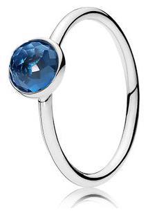 Anel Gota De Cristal Azul Topázio - Dezembro