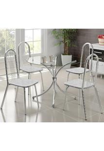 Mesa 375 Cromada Com 4 Cadeiras 182 Fantasia Branco Carraro