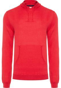 Suéter Masculino Capuz Canguru - Vermelho