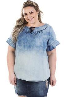 Blusa Plus Size Jeans Molly Com Manga Flare Feminina - Feminino-Azul