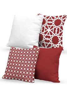 Kit 4 Capas De Almofadas Decorativas Own Geométricas E Lisas Vermelha 45X45 - Somente Capa