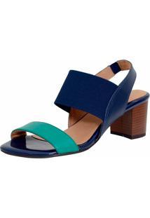 Sandalia Laura Prado Confort Elastico Verde E Azul Marinho - Verde - Feminino - Couro LegãTimo - Dafiti