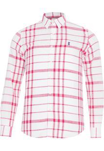 Camisa Masculina Xadrez Rust Color - Rosa