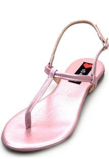 Sandália Rasteira Love Shoes Flat Slim Fio Dental Metalizada Rose - Tricae