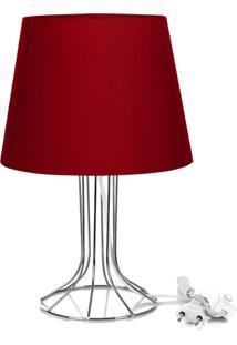 Abajur Torre Dome Vermelho Com Aramado Cromado - Vermelho - Dafiti