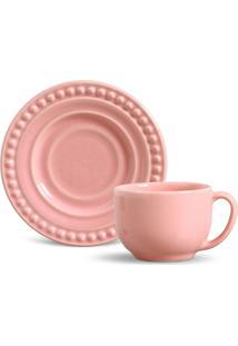 Conjunto De Xícaras De Chá Porto Brasil Atenas 12Pçs Rosa