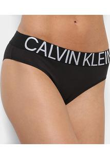 Calcinha Calvin Klein Tanga Cotton Statement - Feminino-Preto