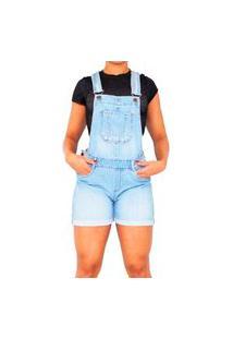 Macacão Jardineira Jeans Curta Feminina Macaquinho Com Regulador Azul Claro Stone Delave