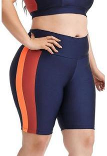 Bermuda Ciclista Plus Size Mood Cajubrasil Feminina - Feminino-Azul