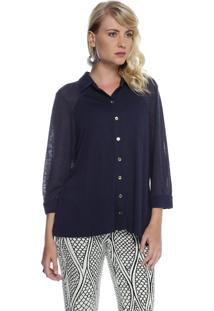 Camisa Energia Fashion Tricot Azul Marinho