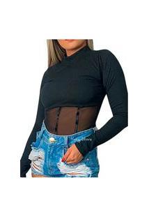 Body Canelado Manga Longa Trend Gola Alta Detalhe Tiras Tule Nstore Preto