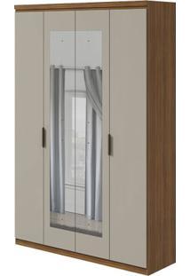 Guarda-Roupa Alonzo Plus Com Espelho - 100% Mdf - 4 Portas - Rovere Naturale Com Offwhite