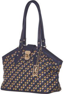 Bolsa Trançada Com Bolso - Azul & Marrom - 25X32,5X1Fellipe Krein