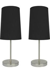 Kit 2Pçs Premier Iluminação Abajures Decorativo Classic Preto Bivolt