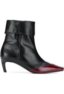 Salondeju Ankle Boot Com Acabamento Contrastante - Preto